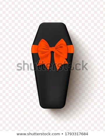 Halloween Sale vector illustration with coffin and Holiday elements on orange background. Design for Stock photo © articular