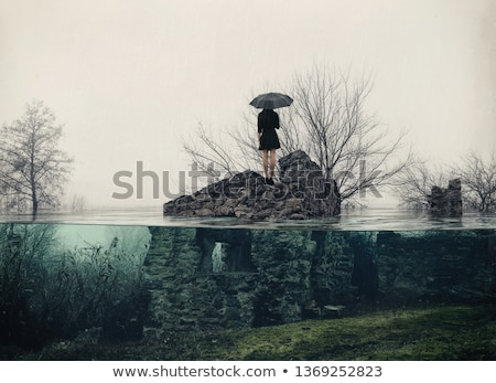 apocalypse · solitude · fille · détruit · monde · visible - photo stock © Natalia_1947