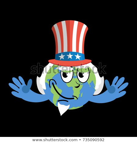 Earth in hat Uncle Sam. geographic USA. Political Vector Illustr Stock photo © popaukropa