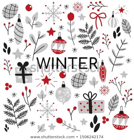Christmas ingesteld stijl kleurboek Stockfoto © frescomovie