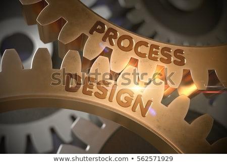 Süreç otomasyon altın diş dişliler mekanizma Stok fotoğraf © tashatuvango