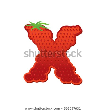 Letter X Strawberry font. Red Berry lettering alphabet. Fruits A Stock photo © popaukropa