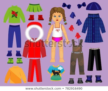 девушки бумаги кукла зима одежды иллюстрация Сток-фото © lenm