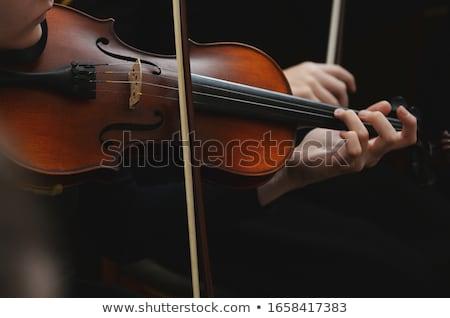 öreg hegedű íj fa asztal stílus tárgy Stock fotó © nessokv