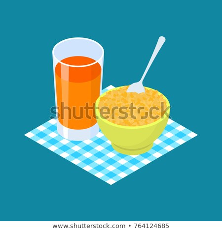 Bulgur Porridge and fruit juice. Breakfast Healthy food. Vector  Stock photo © MaryValery