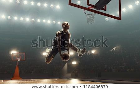 Kosárlabdázó ugrik férfi éjszaka mozgás játszik Stock fotó © IS2
