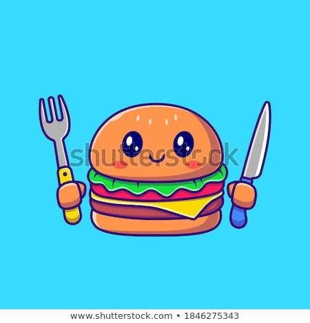 Cheeseburger geïsoleerd icon stijl witte amerikaanse Stockfoto © studioworkstock