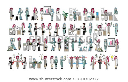 Stock photo: Arabic business colleagues isolated big set