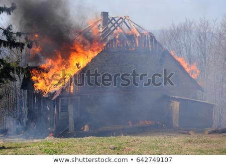 brandend · brand · vlam · houten · huis · dak - stockfoto © ia_64