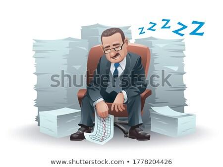 Homem maduro adormecido cadeira homem masculino caucasiano Foto stock © IS2