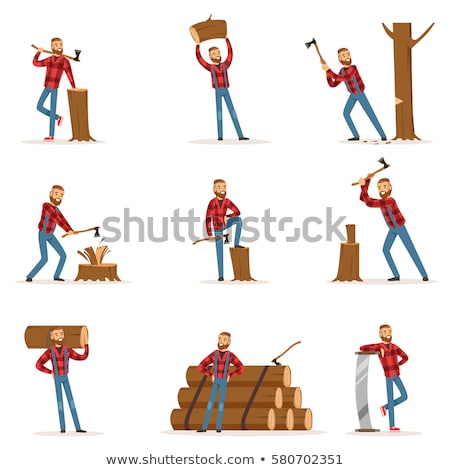 Man Lumberjack Tree Stump Stock photo © lenm