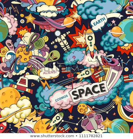 Cosmic seamless pattern. Earth and astronaut. Space rocket ship  Stock photo © popaukropa