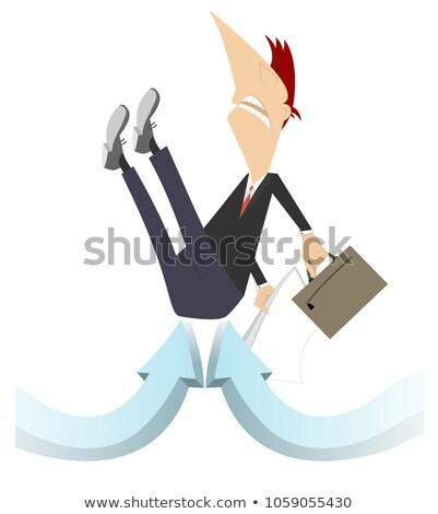 Empresário seta ilustração saco documentos para cima Foto stock © tiKkraf69