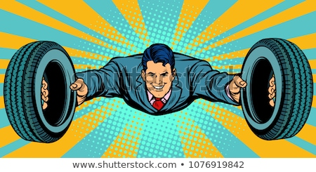 businessman flying car tires service Stock photo © studiostoks