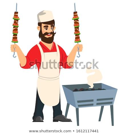 Cartoon Chef holding Kebab Mascot Stock photo © Krisdog