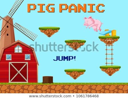 a pig jumpling game template stock photo © bluering