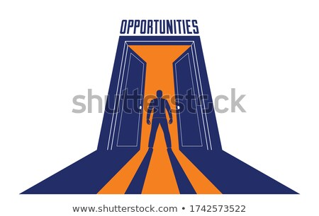 Man half in half out a doorway. Stock photo © IS2