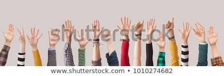 Personas voluntario las manos en alto blanco negro ilustración entusiasta Foto stock © lenm