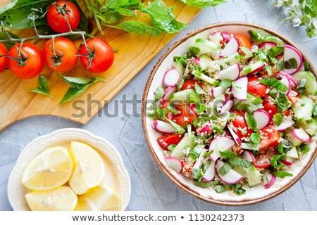 voorjaar · salade · tomaat · komkommers · radijs · houten - stockfoto © mpessaris