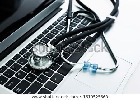 Stockfoto: Zwarte · toetsenbord · Blauw · exemplaar · ruimte