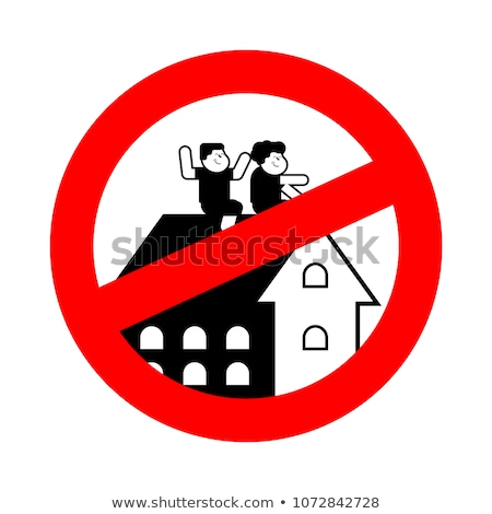 Stop Children are playing on roof of house. Prohibiting sign ban Stock photo © popaukropa