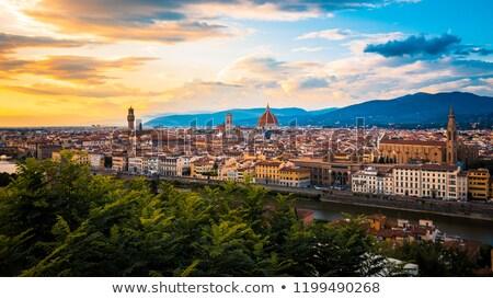 Флоренция закат мнение мостами небе дома Сток-фото © Givaga