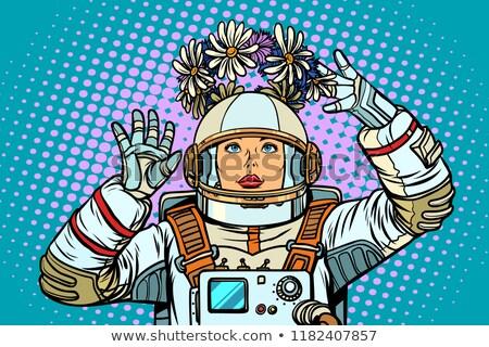Jonge vrouw astronaut krans pop art retro Stockfoto © studiostoks