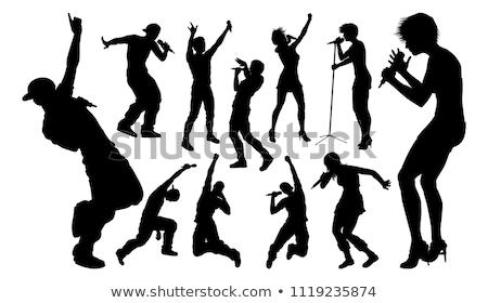 artista · mujer · cantante · hermosa · micrófono - foto stock © krisdog