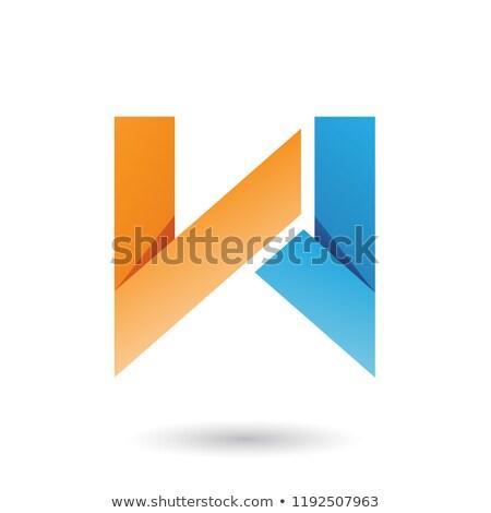 Pomarańczowy niebieski fałdowy papieru list w wektora Zdjęcia stock © cidepix