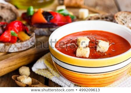Pimenta sopa de tomate vegan comida Foto stock © zoryanchik