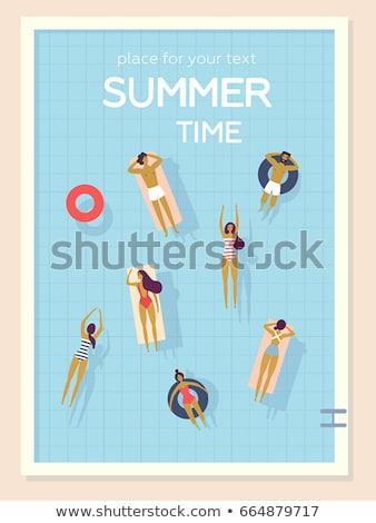 desenho · animado · menino · natação · água · ilustração - foto stock © robuart