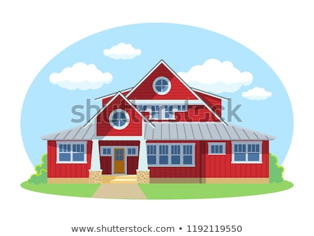 Red cartoon house exterior with blue clouded sky Front Home Architecture Concept Flat Design Style.  Stock photo © MarySan