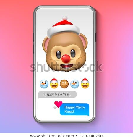 クリスマス 猿 帽子 休日 笑顔 顔 ストックフォト © ikopylov