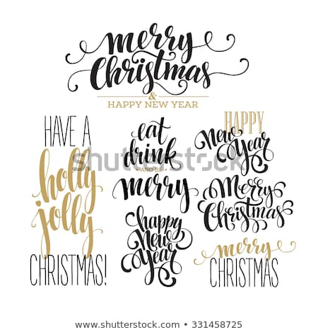 Vidám karácsony terv címkék arany szett Stock fotó © Voysla