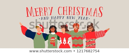 Christmas and New Year friend group hug web banner Stock photo © cienpies