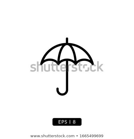Parapluie ligne icône blanche mode design Photo stock © Imaagio