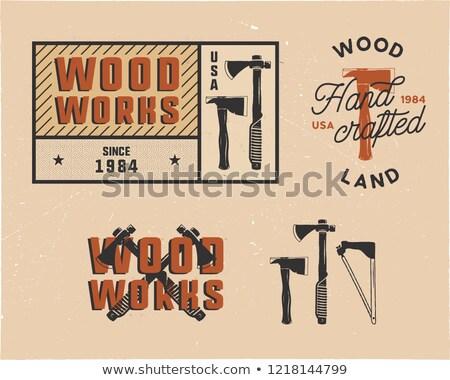Klasszikus kézzel rajzolt címkék logók szett ácsmesterség Stock fotó © JeksonGraphics
