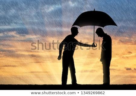 Silueta social ayudar forma manos ayudar Foto stock © Olena