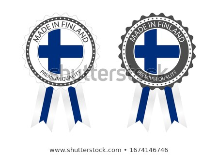 Modern vector Made in Finland label isolated on white background, simple sticker with Finnish colors Stock photo © kurkalukas