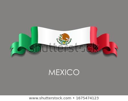 Mexikói zászló fehér város terv háttér Stock fotó © butenkow