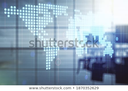 Business background of a with meeting room with network lines. double exposure Stock photo © alphaspirit