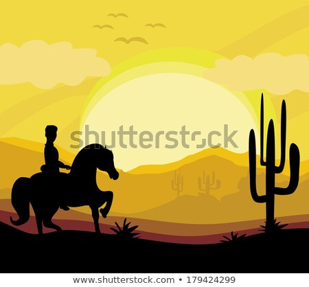 desert man riding a horse cacti sunset stock photo © liolle