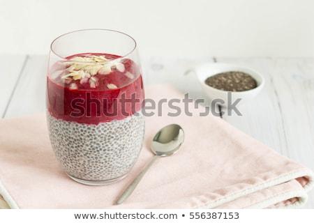 Pudding truskawki sos domowej roboty biały Zdjęcia stock © Lana_M