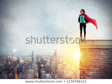Sikeres üzletasszony ahogy szuperhős fölött tető Stock fotó © alphaspirit