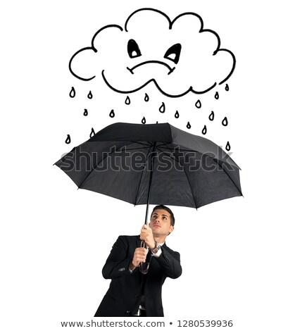 Empresário guarda-chuva zangado nuvem chuva crise Foto stock © alphaspirit