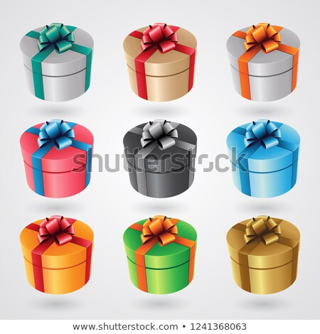 round gift boxes with glossy ribbons   set 1 vector illustration stock photo © cidepix