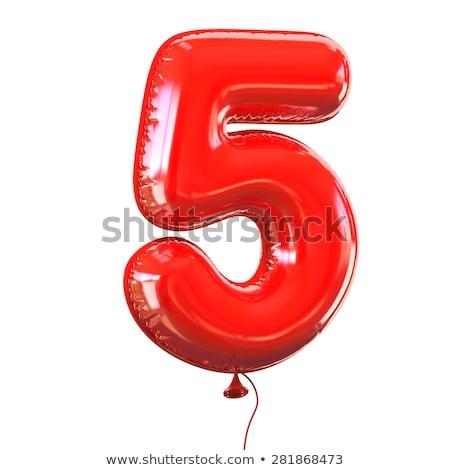 ストックフォト: 赤 · フォント · 番号 · 5 · 3D