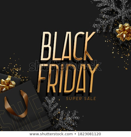 Black friday bolsa de compras dourado confete preto papel Foto stock © limbi007