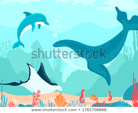 Underwater World Vector. Bottom, Fish, Seaweed, Bubbles. Isolated Flat Cartoon Illustration Stock photo © pikepicture