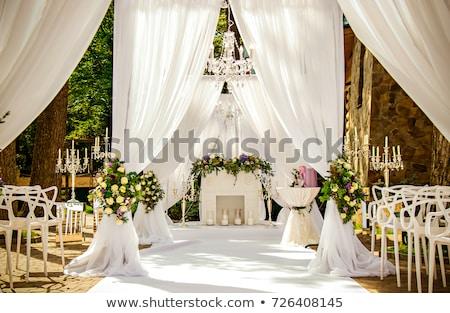 Yer düğün töreni çim beyaz sandalye kemer Stok fotoğraf © ruslanshramko